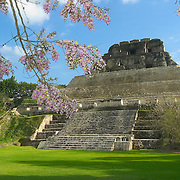 """El Castillo"" temple at Xunantunich Mayan site in Cayo, Belize"