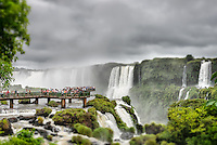 Visitors on the viewing platrorm on the Brazilian side of Iguazu Falls.
