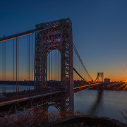 George Washington Bridge, sunrise, starburst, sunstar, dawn,