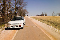 "Old US Route 66 south of Miami Oklahoma. Original alignment consisting of Portland Cement just 8 feet wide here, sometimes refered to as ""Sidewalk Highway"""
