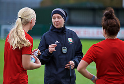 NEWPORT, WALES - Tuesday, November 6, 2018: Wales' Women's national team manager Jayne Ludlow with Elise Hughes and Angharad James during a training session at Dragon Park ahead of two games against Portugal. (Pic by Paul Greenwood/Propaganda)
