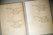 Photo shows manuscripts of Lafcadio Hearn's Songs of Meiji Era on display at the Lafcadio Hearn museum in Matsue, Shimane Prefecture, Japan on 05 Nov. 2012. Photographer: Robert Gilhooly..