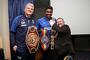 AFC Wimbledon manager Glyn Hodges, Ivor Heller and Boxer Lerrone Richards prior to kick off during the EFL Sky Bet League 1 match between AFC Wimbledon and Peterborough United at the Cherry Red Records Stadium, Kingston, England on 18 January 2020.