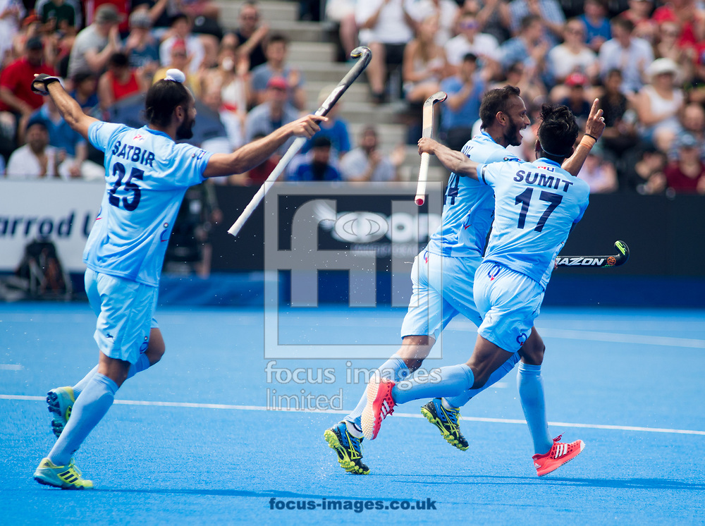 Satbir Singh, Vikas Dahiya and Sunil Sowmarpet of India celebrating Talwinder Singh's goal on day four of the Men's Hero Hockey World League Semi-Finals at Lee Valley Hockey Centre, Stratford<br /> Picture by Hannah Fountain/Focus Images Ltd 07814482222<br /> 18/06/2017