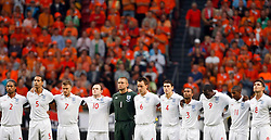 The England team line up before the game, Glen Johnson, Rio Ferdinand, David Beckham, Wayne Rooney, Robert Green, John Terry, Gareth Barry, Ashley Cole, Emile Heskey, Ashley Young and Frank Lampard (ENG). Netherlands and England at the Amsterdam Arena on August 12, 2009 in Amsterdam, Netherlands.