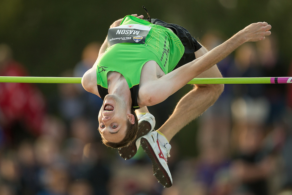 Michael Mason clears 2.28 metres for a second place finish in the high jump at the Canadian Track and Field Championships in Edmonton, Canada on July 4, 2015.  AFP PHOTO/GEOFF ROBINS