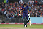 Yorkshires Adam Lyth gets his 50 during the Vitality T20 Blast North Group match between Lancashire County Cricket Club and Yorkshire County Cricket Club at the Emirates, Old Trafford, Manchester, United Kingdom on 20 July 2018. Picture by George Franks.