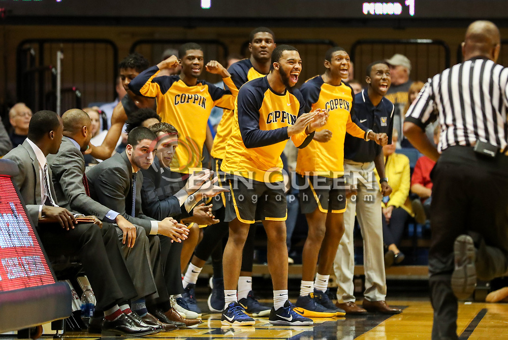 Dec 20, 2017; Morgantown, WV, USA; The Coppin State Eagles bench reacts after a made basket during the first quarter against the West Virginia Mountaineers at WVU Coliseum. Mandatory Credit: Ben Queen-USA TODAY Sports