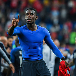 Paul Pogba of France celebrates during the Semi Final FIFA World Cup match between France and Belgium at Krestovsky Stadium on July 10, 2018 in Saint Petersburg, Russia. (Photo by Anthony Dibon/Icon Sport)