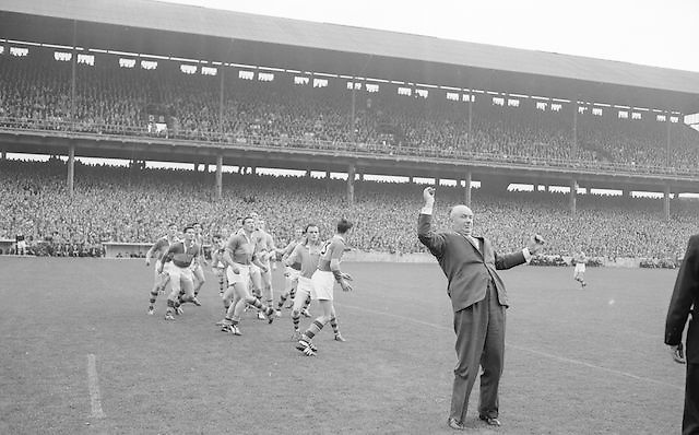 Mr. Hugh O'Byrne President GAA throws in the ball for the All Ireland Senior Gaelic Football Championship Final Kerry v Roscommon in Croke Park on the 23rd September 1962. Kerry 1-12 Roscommon 1-6.