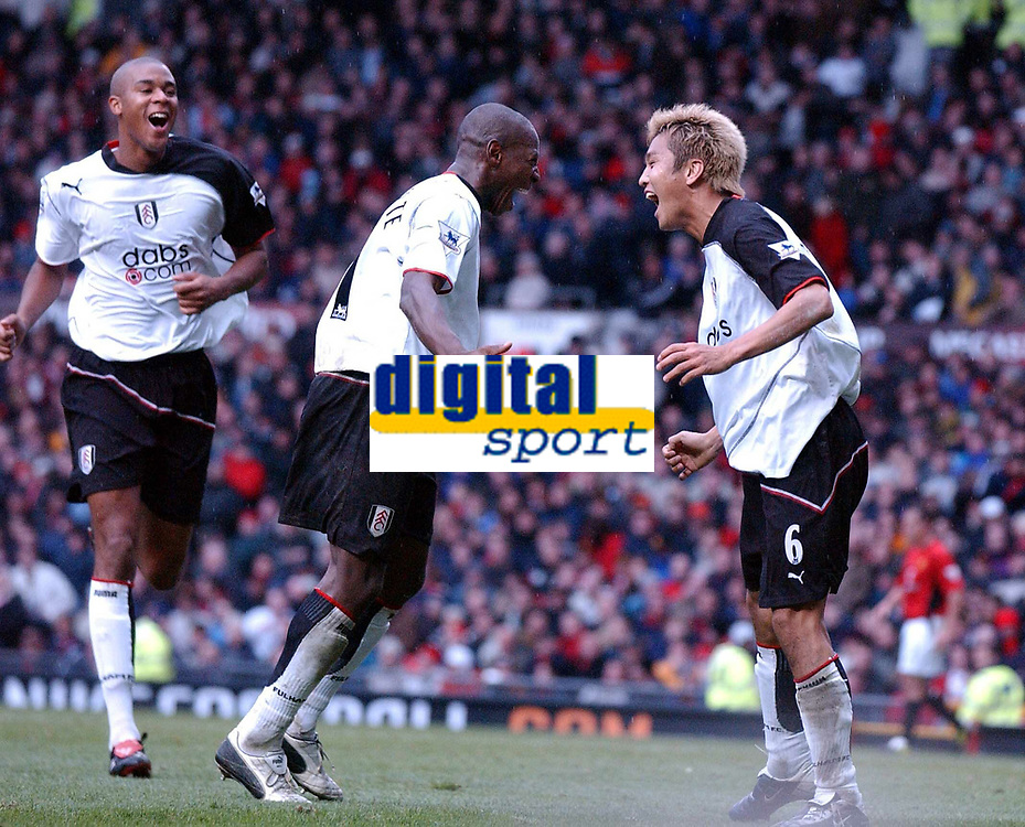 MANCHESTER UNITED V FULHAM  PREMIER LEAGUE 25/10/03, JUNICHI INAMOTO (FULHAM) CELEBRATES GOAL WITH LUIS BOA MORTE, <br />