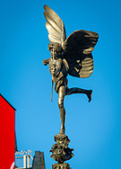 London, England - October 27, 2017: Statue of Anteros at Shaftesbury Memorial Fountain, Piccadilly Circus, London. The Statue was erected in 1892.