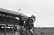 Four players all attempting to gain possession of the ball during the All Ireland Senior Gaelic Football Championship Final Dublin V Galway at Croke Park on the 22nd September 1974. Dublin 0-14 Galway 1-06.