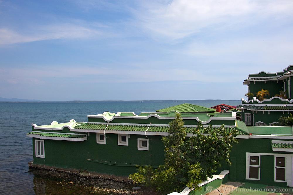 Central America, Cuba, Cienfuegos. Casa Verde view from Perla del Mar boutique hotel.