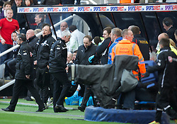 27.04.2013, St. James Park, Newcastle, ENG, Premier League, Newcastle United vs FC Liverpool, 35. Runde, im Bild Newcastle United's manager Alan Pardew heads straight down the tunnel after the 6-0 humiliation by Liverpool during during the English Premier League 35th round match between Newcastle United and Liverpool FC at the St. James Park, Newcastle, Great Britain on 2013/04/27. EXPA Pictures © 2013, PhotoCredit: EXPA/ Propagandaphoto/ David Rawcliffe..***** ATTENTION - OUT OF ENG, GBR, UK *****