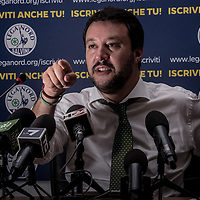 Milano, Italy - 24-06-2016: Matteo Salvini, leader of the anti-migrant and federalist Northern League (Lega Nord), points his finger during a press conference in Via Bellerio, Lega Nord headquarter.