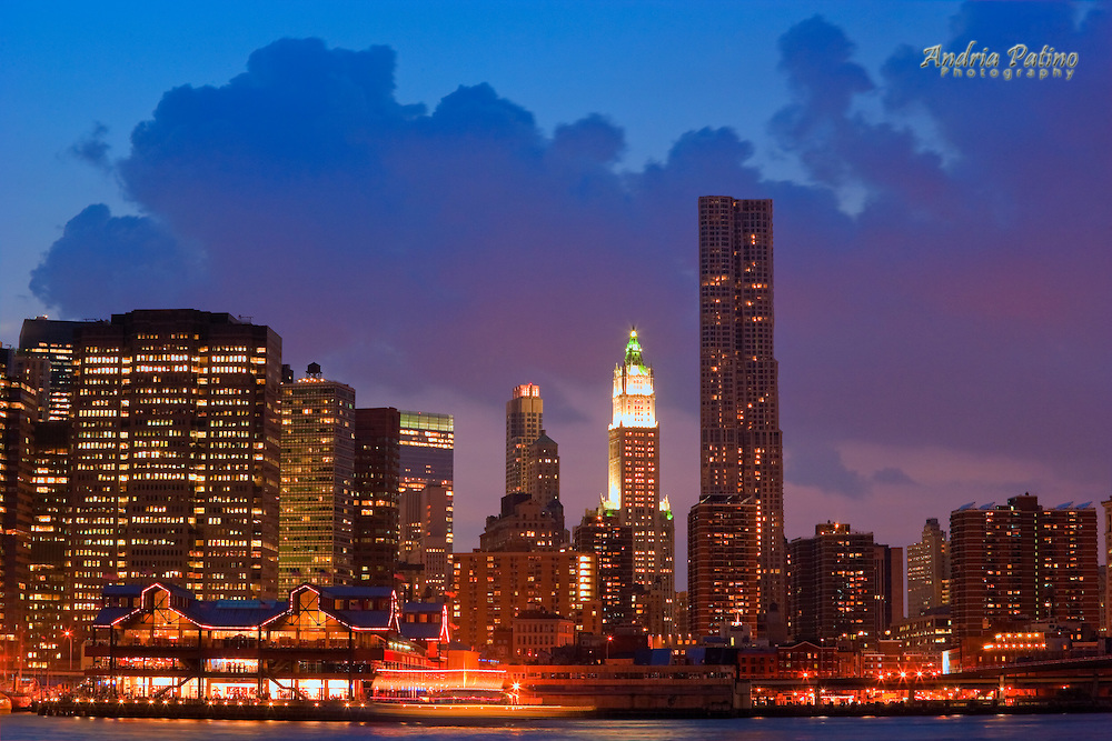 The new residential building by Frank Gehry along with the  Woolworth building in the New York Skyline