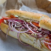 The Locust Street hoagie, turkey and provolone, at Taylor on K Street. Seeded Italian rolls at Taylor are brought in daily from Sarcone's Bakery in Philadelphia and the sandwiches are named after Philly streets.