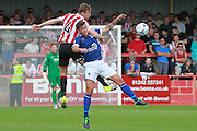 Kyle Storer and Paddy Lacey  during the Vanarama National League match between Cheltenham Town and Barrow at Whaddon Road, Cheltenham, England on 22 August 2015. Photo by Antony Thompson.