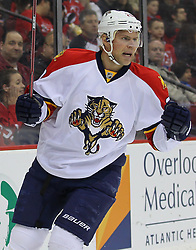 Feb 11; Newark, NJ, USA; Florida Panthers left wing Sean Bergenheim (20) celebrates his goal against New Jersey Devils goalie Martin Brodeur (30) during the first period at the Prudential Center.