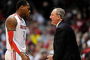 DAYTON, OH - MARCH 24: Head coach Thad Matta of the Ohio State Buckeyes talks to Deshaun Thomas #1 on the sideline in the second half against the Iowa State Cyclones during the third round of the 2013 NCAA Men's Basketball Tournament at UD Arena on March 24, 2013 in Dayton, Ohio. (Photo by Jason Miller/Getty Images)