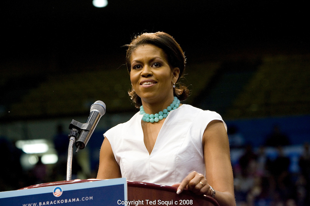 Wife of Barack Obama, Michelle, lead a rally for her husband held inside the Pauley Pavillion at UCLA. About 10 thousand people were in attendance..Oprah Winfrey, Caroline Kennedy-daughter of JFK, Maria Elena Durazo, and surprise guest Maria Shriver-California's First lady all spoke on behalf of Barack Obama. .Stevie Wonder also spoke and played a short song. .