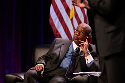 Moderator Vernon Odom listens as Democratic Presidential hopeful U.S. Sen. Bernie Sanders speaks at the Philadelphia Council AFL-CIO Workers' Presidential Summit, at the Pennsylvania Convention Center in Philadelphia, PA, on September 17, 2019.