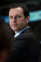 KELOWNA, CANADA - MARCH 15: Assistant coach Matt Erhart of the Vancouver Giants stands on the bench against the Kelowna Rockets on March 15, 2014 at Prospera Place in Kelowna, British Columbia, Canada.   (Photo by Marissa Baecker/Getty Images)  *** Local Caption *** Matt Erhart;