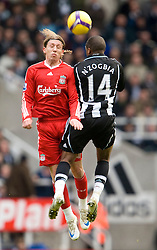 NEWCASTLE, ENGLAND - Sunday, December 28, 2008: Liverpool's Lucas Leiva and Newcastle United's Charles N'Zogbia during the Premiership match at St James' Park. (Photo by David Rawcliffe/Propaganda)