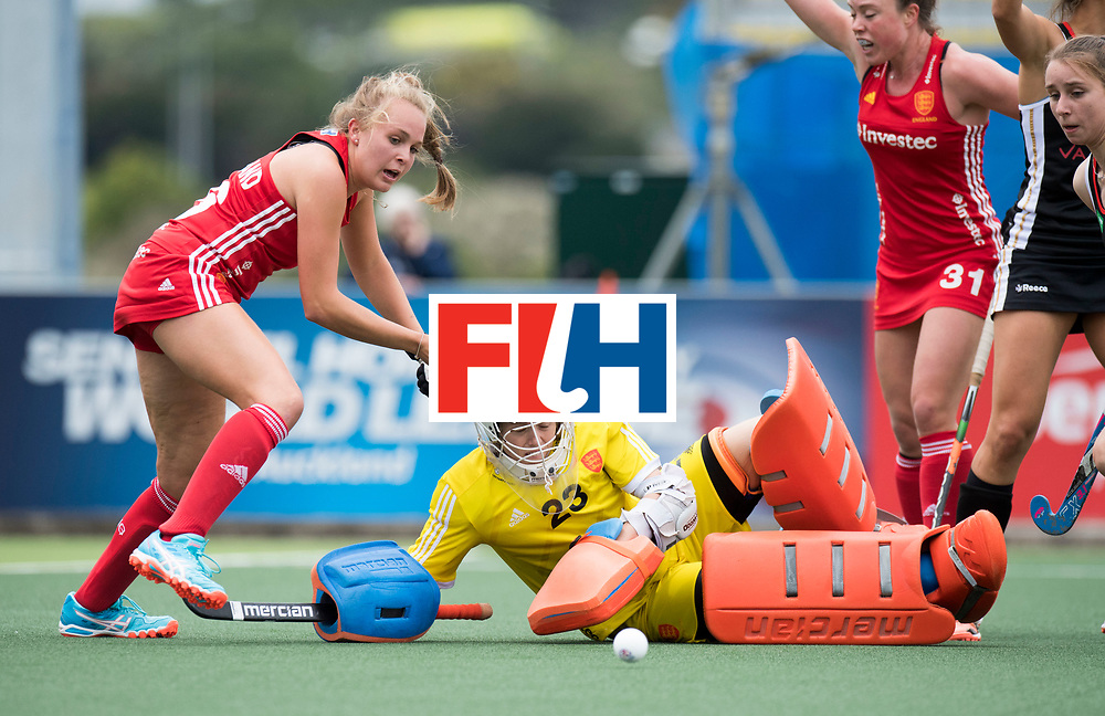 AUCKLAND - Sentinel Hockey World League final women<br /> Match id 10293<br /> 03 England v Germany <br /> Foto: stop Amy Tennant (Gk) <br /> WORLDSPORTPICS COPYRIGHT FRANK UIJLENBROEK