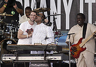 """PHILADELPHIA - JULY 2:  Singers Adam Levine of Maroon 5 and Stevie Wonder perform on stage at """"Live 8 Philadelphia"""" at the Philadelphia Museum of Art July 2, 2005 in Philadelphia, Pennsylvania. The free concert is one of ten simultaneous international gigs including London, Berlin, Rome, Paris, Barrie, Tokyo, Cornwall, Moscow and Johannesburg. The concerts precede the G8 summit (July 6-8) to raising awareness for MAKEpovertyHISTORY.  (Photo by William Thomas Cain/Getty Images)"""