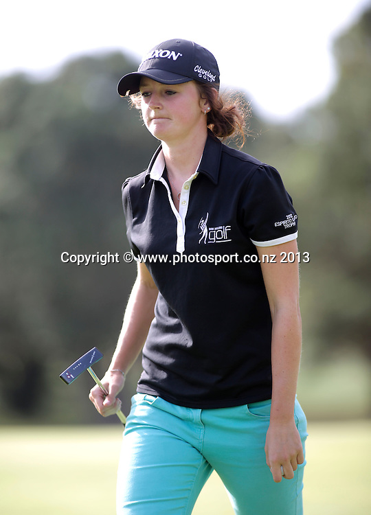 Emily Perry on the final day of the Taranaki Energy Open, New Plymouth Golf Club, New Zealand. Sunday 14 April, 2013. Photo: John Cowpland / photosport.co.nz