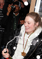 14.02.2013, Oh la la - Gasthaus Brunner, AUT, FIS Weltmeisterschaften Ski Alpin, Schladming, im Bild Tessa Worley (FRA, 1. Platz), die mit Champagner ihre Goldmedaille feiert // 1st place Tessa Worley of France celebrates her gold medal with champagne during FIS Ski World Championships 2013 at the Oh la la - Gasthaus Brunner, Schladming, Austria on 2013/02/14. EXPA Pictures © 2013, PhotoCredit: EXPA/ Martin Huber.