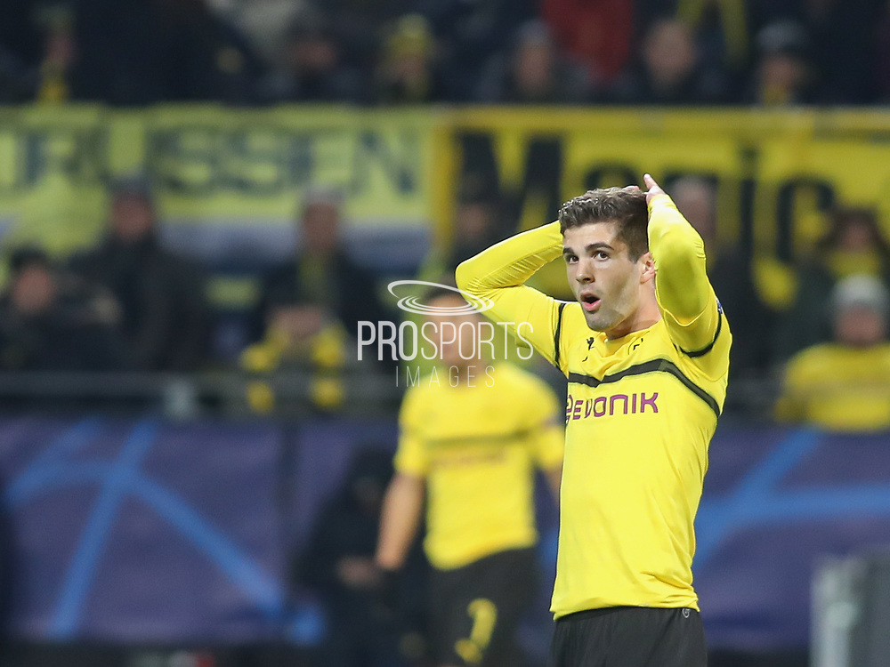 Christian Pulisic of Dortmund disappointed during the Champions League round of 16, leg 2 of 2 match between Borussia Dortmund and Tottenham Hotspur at Signal Iduna Park, Dortmund, Germany on 5 March 2019.