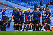 Manchester United Women players group during the warm up during the FA Women's Super League match between Manchester City Women and Manchester United Women at the Sport City Academy Stadium, Manchester, United Kingdom on 7 September 2019.