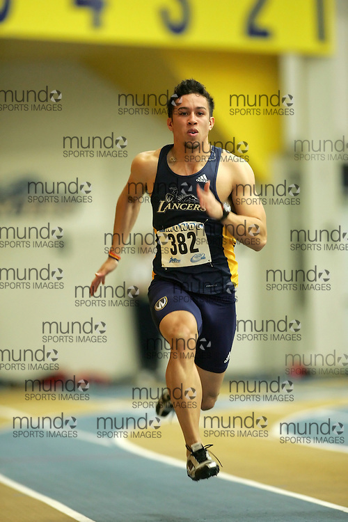 (Windsor, Ontario---11 March 2010) Aaron Bowman of University of Windsor Lancers competes in the  competes in the 60m heats at the 2010 Canadian Interuniversity Sport Track and Field Championships at the St. Denis Center. Photograph copyright Sean Burges/Mundo Sport Images. www.mundosportimages.com