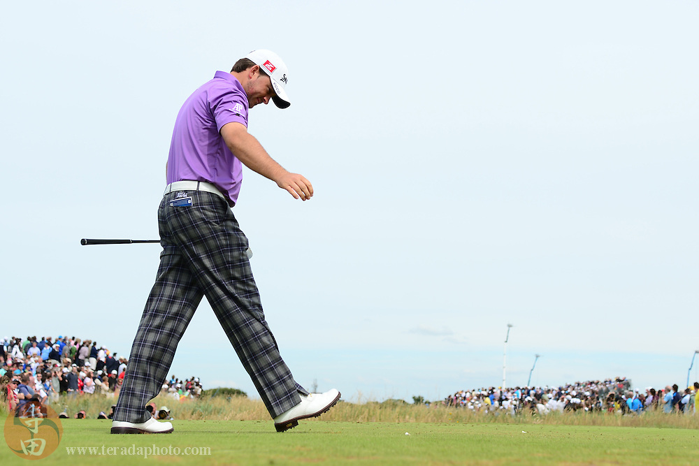 July 21, 2012; St. Annes, ENGLAND; Graeme McDowell reacts after teeing off on the 5th hole during the third round of the 2012 British Open Championship at Royal Lytham & St. Annes Golf Club.