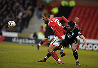 City Ground  Nottingham Forest v Birmingham City FA Cup Round 3 02/01/2010<br /> Dexter Blackstock  (Forest)  Liam Ridgewell   (Bham) <br /> Photo Roger Parker Fotosports International