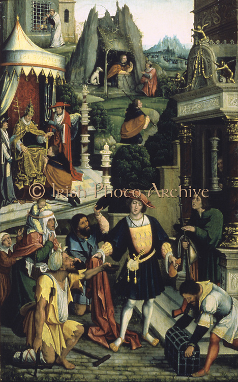 St Roch or Roque of Montpellier (1295-1327). Oil on oak board.  Barend van Orley (1487/1491-1541) Flemish Northern Renaissance painter. Roch distributing wealth, pilgrim to Italy, recovering from plague in forest, imprisoned.  Medicine