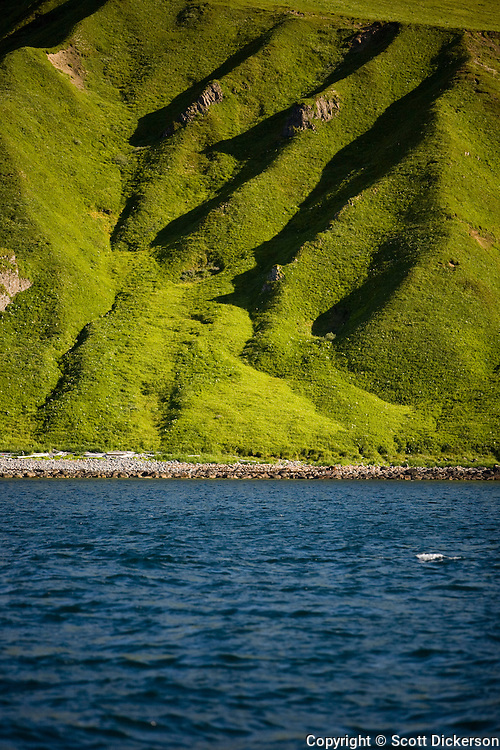 Rich green and blue of the dramatic landscape of the Aleutian Islands, Alaska.