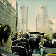 Europa, Portugal, Lissabon. Stadtrundfahrt mit Yellow-Bus. Auf der Av. Jose Malhoa mit Blick auf die Galerias Comerciais Twin Towers.<br /> Europe, Portugal, Lisbon. City tour with yellow bus. On the AV. Jose Malhoa overlooking the Galerias comerciais twin towers.<br /> &copy; 2013 Harald Krieg/Agentur Focus