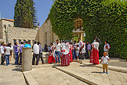 Israel, Nazareth, Pilgrims at the entrance to the Basilica of the Annunciation