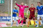 Goalkeeper Zander Clark (#1) of St Johnstone FC in a crowded 6 yard box during the Ladbrokes Scottish Premiership match between St Johnstone and Motherwell at McDiarmid Stadium, Perth, Scotland on 11 May 2019.