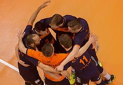 17-04-2016 NED: Play off finale Abiant Lycurgus - Seesing Personeel Orion, Groningen<br /> Abiant Lycurgus is door het oog van de naald gekropen tijdens het eerste finaleduel om het landskampioenschap. De Groningers keken in een volgepakt MartiniPlaza tegen een 0-2 achterstand aan tegen Seesing Personeel Orion, maar mede dankzij invaller Gino Naarden kwam Lycurgus langszij en pakte het de wedstrijd met 3-2 / Yell vreugde Orion Stijn Held #3 of Orion, Joris Marcelis #5 of Orion