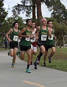 Nov 1, 2017; Long Beach, CA, USA; Henry Anderson (337), Daniel Bautista (343), Thomas Fleming (356) and Devin Koval (377) of Long Beach Poly and Caden Elsesser of Long Beach Wilson (488) run during the Moore League cross country finals at Heartwell Park.