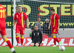 LLANELLI, WALES - Wednesday, August 15, 2012: Wales' goalkeeper Boaz Myhill looks dejected as Bosnia-Herzegovina score the opening goal during the international friendly match at Parc y Scarlets. (Pic by David Rawcliffe/Propaganda)