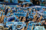 SYDNEY, AUSTRALIA - OCTOBER 27: Sydney FC fans at The Hyundai A-League Round 1 soccer match between Sydney FC and Western Sydney Wanderers FC The Sydney Cricket Ground in Sydney on October 27, 2018. (Photo by Speed Media/Icon Sportswire)
