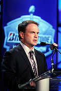 NFL spokesperson and executive Brian McCarthy speaks at the Super Bowl XLV Halftime Show press conference featuring The Black Eyed Peas (held during the week of NFL Super Bowl XLV between the Pittsburgh Steelers and the Green Bay Packers) on Thursday, February 3, 2011 in Dallas, Texas. ©Paul Anthony Spinelli