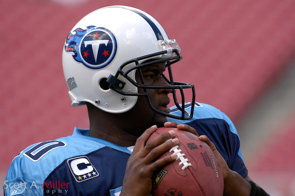Oct. 14, 2007; Tampa, FL, USA; Tennessee Titans quarterback (10) Vince Young prior to the start of his team's game against the Tampa Bay Buccaneers at Raymond James Stadium. ...©2007 Scott A. Miller