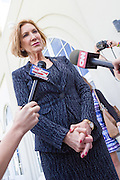 Former CEO and GOP presidential hopeful Carly Fiorina speaks to the media following the National Security Forum with the Americans for Peace, Prosperity and Security at the Citadel Military College September 22, 2015 in Charleston, South Carolina.